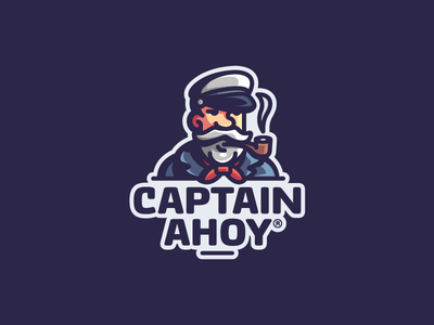 CaptainAhoy sailor ahoy captain pipe smoke mascot illustration branding mark logotype design logo