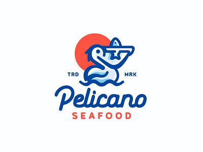 Pelicano fish pelican seafood ocean sea linear illustration branding mark logotype design logo