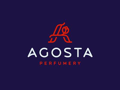 Agosta scent perfumery monogram flower linear elegant minimal mark branding logotype design logo