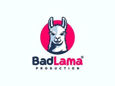 BadLama angry mascot character bad llama animal illustration branding mark logotype design logo