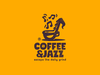 Coffe&Jazz play notes music jazz saxophone cup coffee illustration branding mark logotype design logo