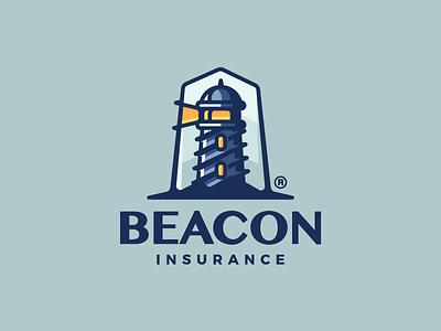 Beacon coast light sea insurance beacon lighthouse illustration art branding mark logotype design logo