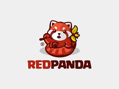 Red Panda cute red leaves mascot redpanda panda illustration branding mark logotype design logo
