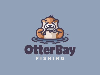 OtterBay swimming character animal fishing fish otter illustration branding mark logotype design logo
