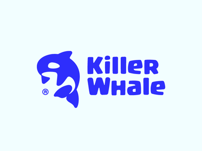 KillerWhale negativespace blue minimal modern fin sea orca killer whale illustration branding mark logotype logo design logo