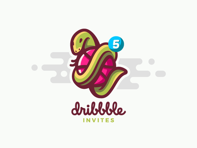 Dribbble Invites dribbble ball illustration mark vector logotype invite invitation icon dribbble draft design lizard snake