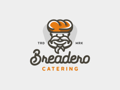 Breadero food catering chef pastry bakery bread linear minimal illustration branding mark logotype design logo