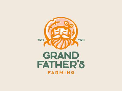 Grand Father's Farming nature farming grandfather grandpa farmer hat illustration branding mark logotype design logo