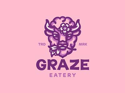 Graze Eatery bistro eatery leaves graze flower horns buffalo bison illustration amimal branding mark logotype design logo
