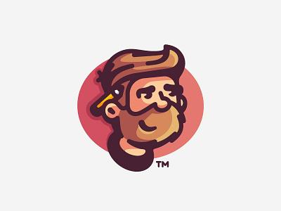 Avatar male face design pencil beard designer vector portrait avatar personal mark