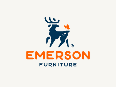 Emerson Furniture furniture woodworking handmade elegant butterfly horns antlers deer logo animal illustration branding mark logotype design logo