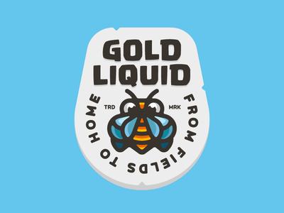Liquid Gold Honey colorful animal design logo logotype mark illustration character branding mascot honey honebee bee gold liquid hive behive badge nature natural