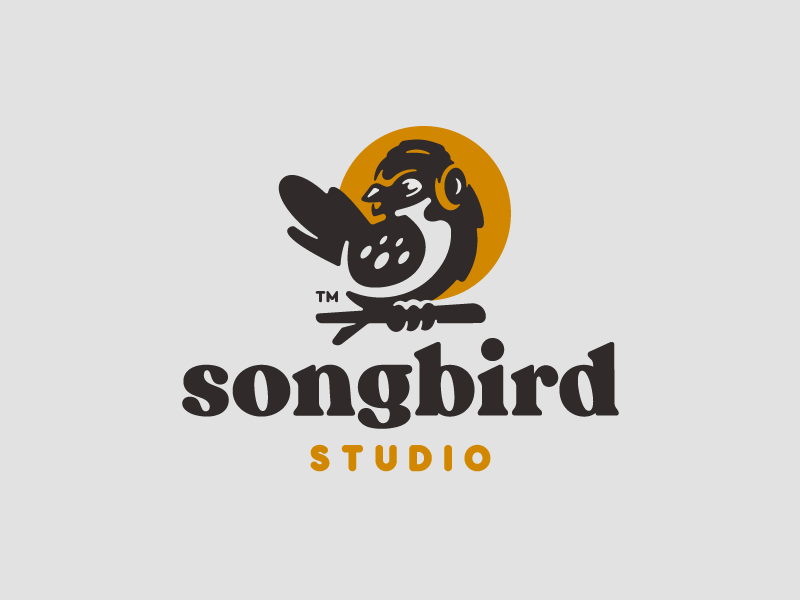 SongBird negativespace headphones songbird studio music song wings logo animal bird illustration branding mark logotype design logo