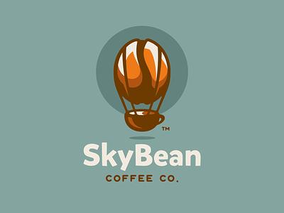 SkyBean cup brew roaster coffee bean skyblue hotairballoon balloon illustration branding mark logotype design logo