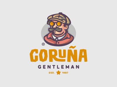 Coruña beret outlined character art glasses suit mustaches character man illustration branding mark logotype design logo