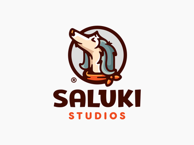 Saluki character happy studio pet head saluki puppy dog animal illustration branding mark logotype design logo