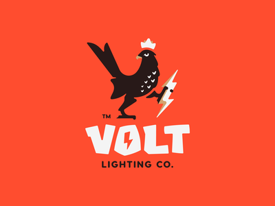 Volt horus falcon power lightning volt thunder lighting crown bird illustration branding mark logotype design logo