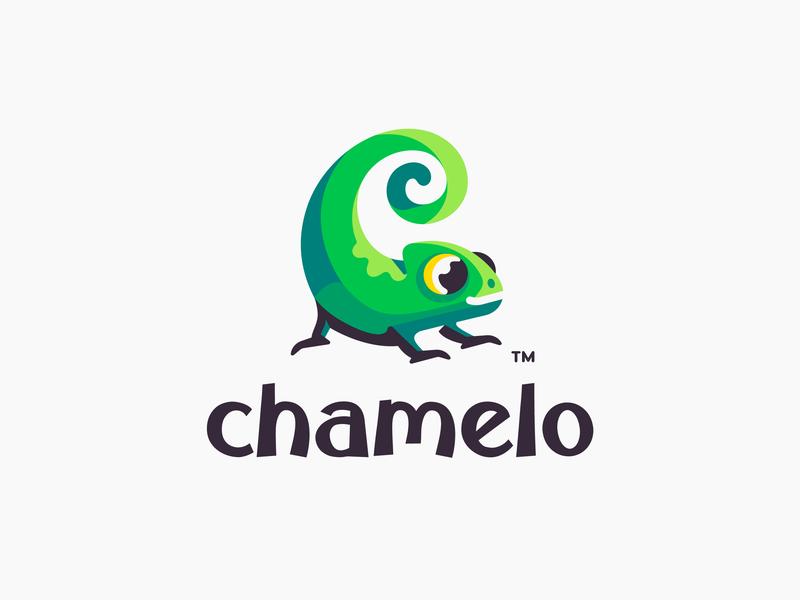 Chamelo colorful chameleon lizard animal character illustration branding mark logotype design logo