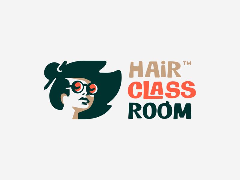 Hair Classroom teacher face learning smart pencil glasses hair girl negativespace illustration branding mark logotype design logo