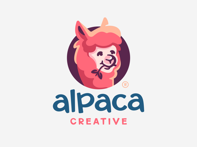 Alpaca cute fluffy mascot character head alpaca animal flat illustration branding mark logotype design logo