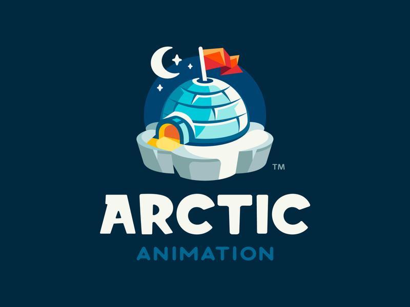 Arctic Animation mountain igloo stars moon iceberg ice snow flag winter arctic illustration branding mark logotype logodesign logo