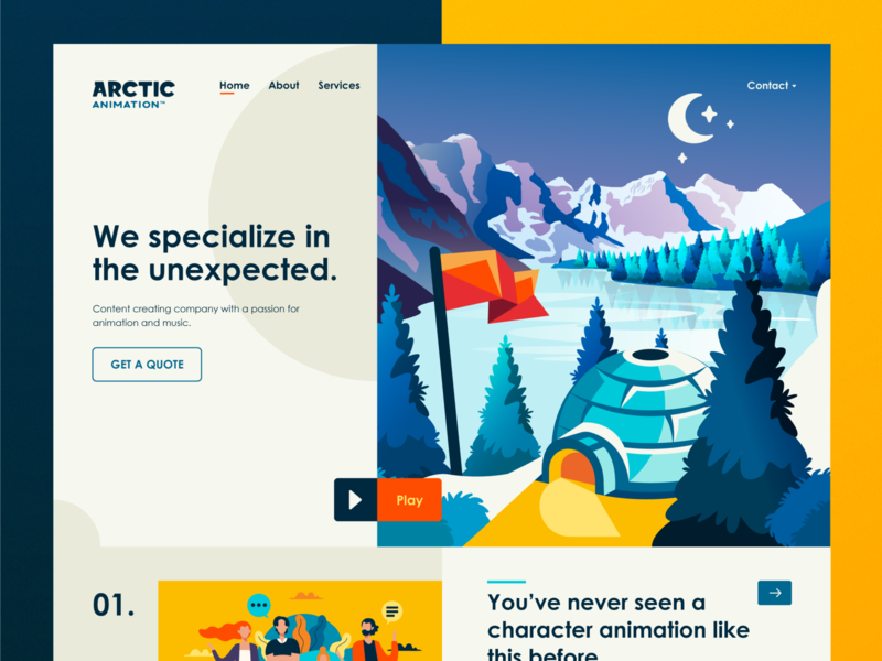 Arctic Animation Homepage home page winter website web design web ux ui star snow moon mark logo logotype landing page illustration igloo flag design branding arctic