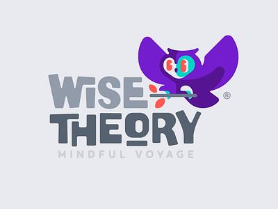 Wise Theory night happy colorful mindful blog theory wise owl bird illustration branding mark logotype design logo
