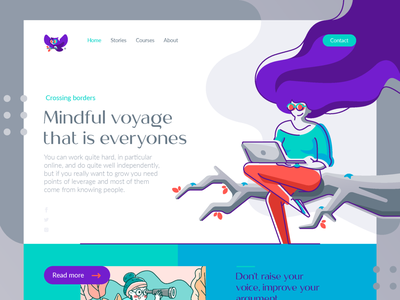 Wise Theory Homepage owl hair website ux ui landing page home page web design web branch girl illustration branding mark logotype desing logo