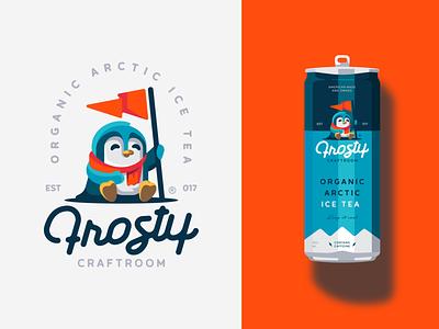 Frosty winter flag penguin bird arctic tea icetea frosty illustration branding mark logotype design logo