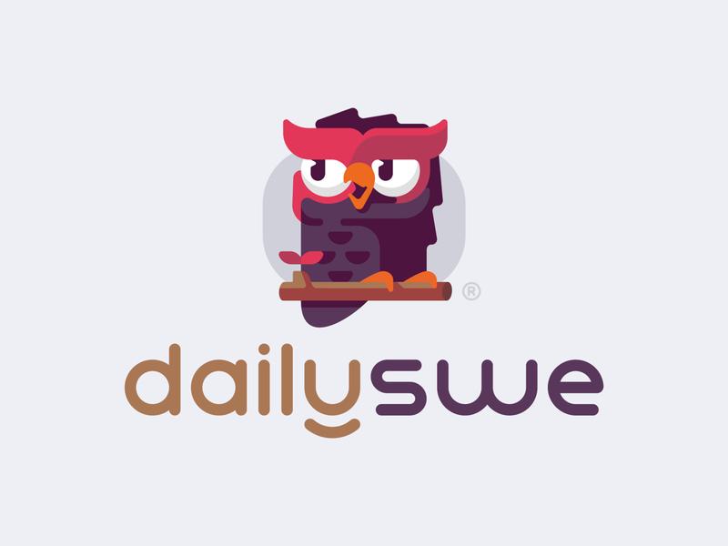 DailySWE colorful typo typogaphy wormark owl smart wise bird illustration branding mark logotype design logo