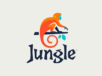 Jungle ape leaves jungle monkey animal illustration branding mark logotype design logo