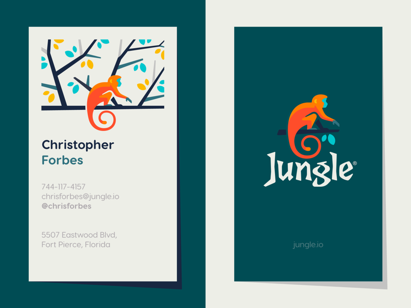 Jungle Business Card leaves ape business card monkey animal typography typo illustration branding mark logotype logodesign design logo