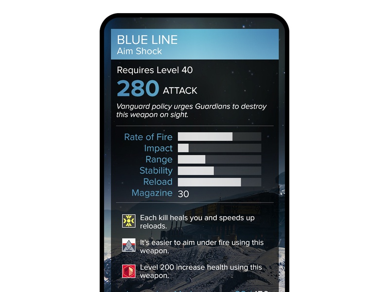 Destiny Companion App Weapon Statistics Screen Mobile App 2 android app mobile app ui app ux app uiux dailyui uidailychallenge ui art game gaming ui ux mobile design user experience design ui ux design ui designer interactive design ui artist ui design ui art ux design