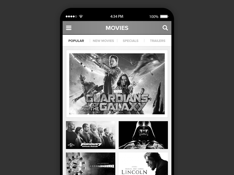 Video Streaming App Movie Selection Screen Black White movie selection app movie app uxdesign ux  ui ui  ux uiux ui uxui design uxuidesign uxui gaming alfredocreates ux mobile design design ui ux design interactive design ui designer ux design ui design