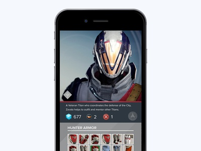 Destiny Companion App Mobile Design