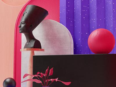 18th Dynasty 3D Set Design statue 3d artist shapes artwork render illustration 3d art minimal blender 3d