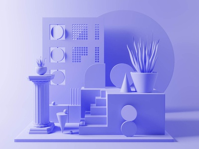 Set Design A - Clay shapes minimal blender 3d