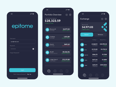 Epitome Concept Screens blockchain wallet asset digital cryptocurrency crypto epitome phone ios app ux ui ltx lotux design