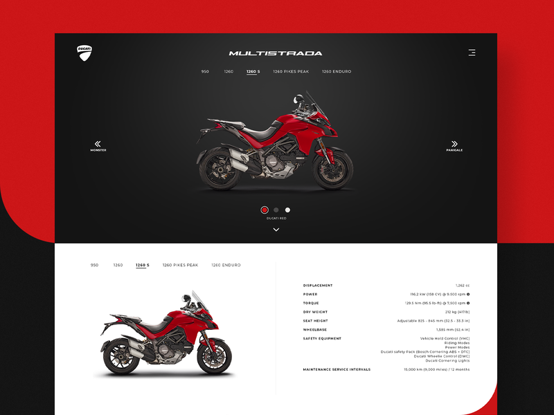 Ducati Multistrada Product Page spec speculative prototype ux ui web website product page product multistrada ducati