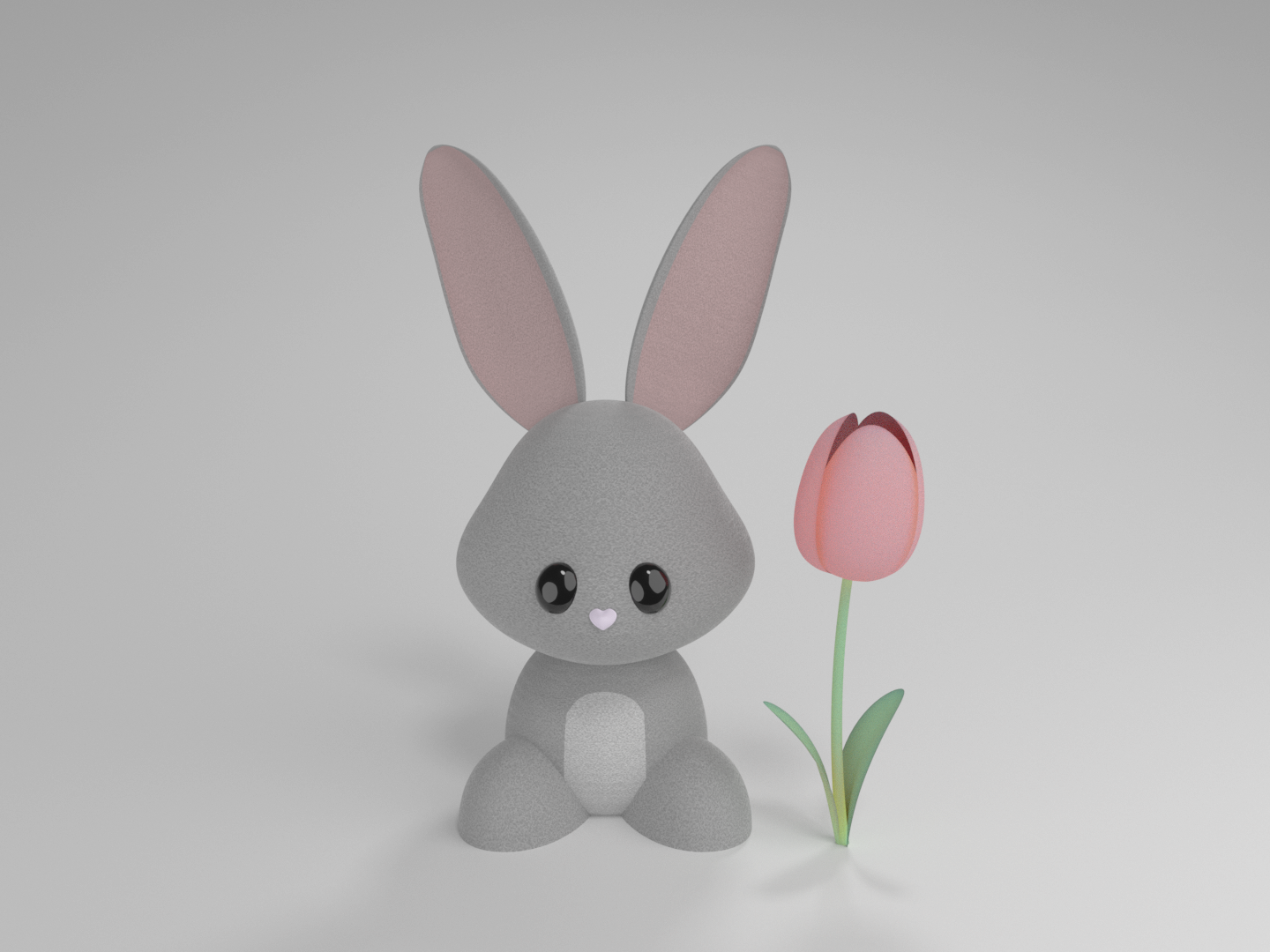 These tulips are for no bunny but you easter bunny easter spring character illustration blender cgi cute adorable modeling 3d character design tulips rabbit bunny