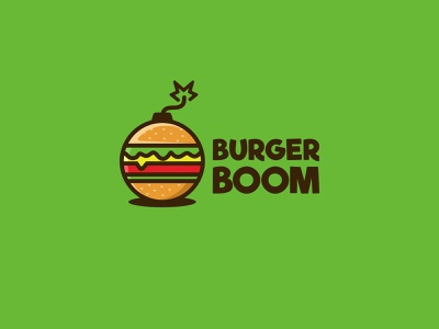 Burger Bomb branding forsale character icon cute unused mascot illustration logo cheese sandwich fire boom burger