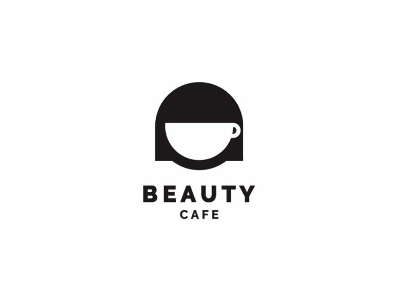 BEAUTY CAFE smart people minimal cute illustration unused logo negative space beauty woman coffee cafe