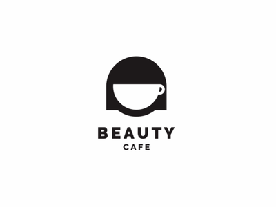 BEAUTY CAFE smart people minimal cute illustration unused logo negative space beauty woman coffee cafe