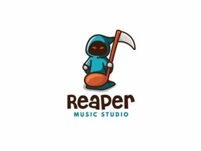 REAPER MUSIC STUDIO unused note cute logo studio music reaper