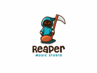REAPER MUSIC STUDIO unused note cute logo studio music reaper