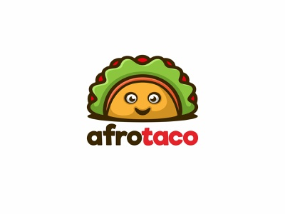 Afrotaco Logo design, Unused! negativespace character animal unused mascot illustration logo sandwich afro