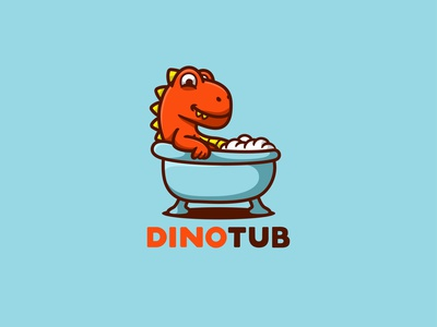 DINOTUB forsale character animal icon cute unused mascot illustration logo tub dino dinosaur