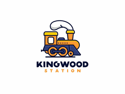 Kingwood Station playful cartoon icon unused forsale mascot train logo