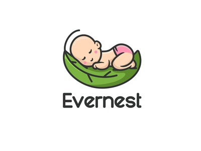 Evernest animal leaf character icon nest cute unused mascot illustration logo