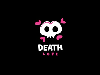 DEATH LOVE forsale negativespace character unused mascot illustration logo skull heart love death